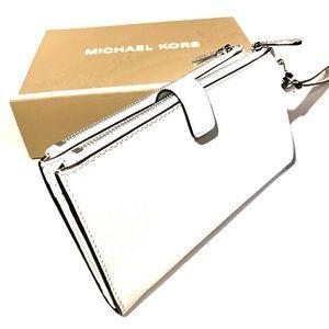 Michael Kors Large Double Zip Wallet  Optic White